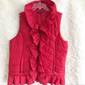 For Cynthia Red Quilted Ruffle Vest
